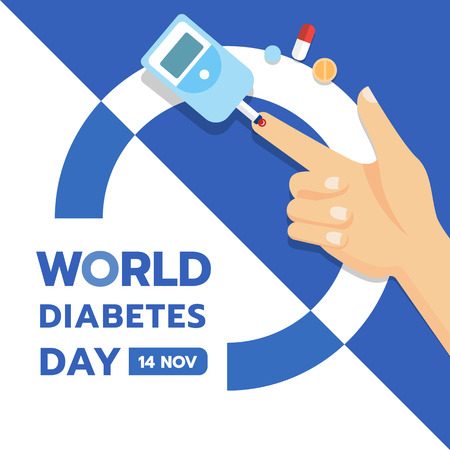 World Diabetes Day banner with hand and Blood Sugar Test and Pill Ilustracja