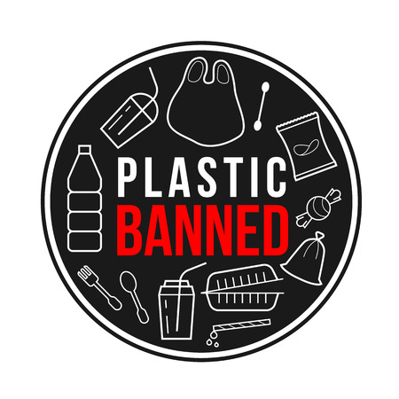 Plastic banned banner with line plastic object sign on black circle vector design