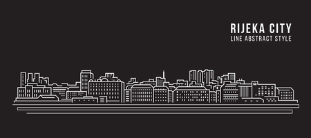 Cityscape Building Line art Vector Illustration design - Rijeka city
