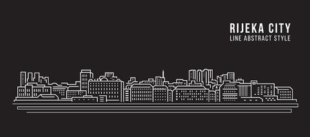 Stadtbild Gebäude Strichzeichnungen Vector Illustration Design - Rijeka city