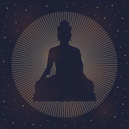 Abstract circle dashed line made Buddha sign on dark night sky