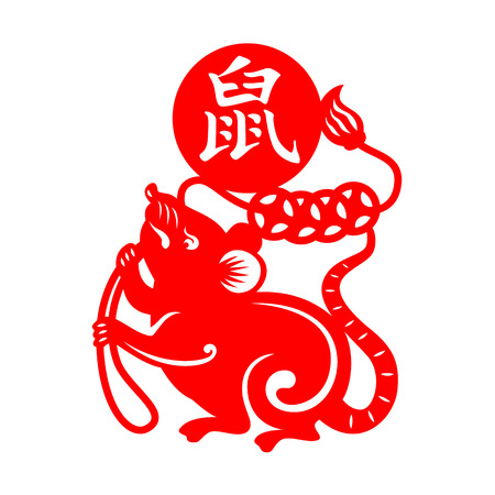 Red paper cut rat zodiac hold Ancient Chinese Coin sign isolated