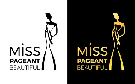 Miss pageant Beautiful  sign with woman wear a crown and sash Illustration