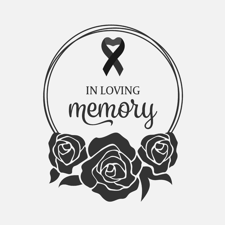 In loving Memory text and ribbon in Black Wreath rose