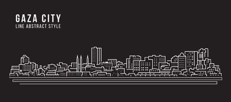 Cityscape Building Line art  Illustration design - Gaza city 向量圖像