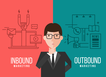 Businessmen are deciding between Inbound marketing and outbound marketing banner  design Illustration