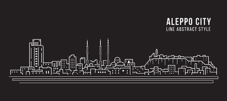 Cityscape Building Line art Illustration design - Aleppo city
