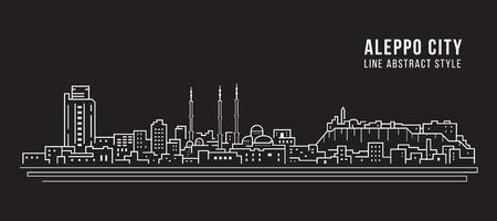 Paisaje urbano de la Línea de Construcción de arte, diseño de Ilustración - La ciudad de Alepo