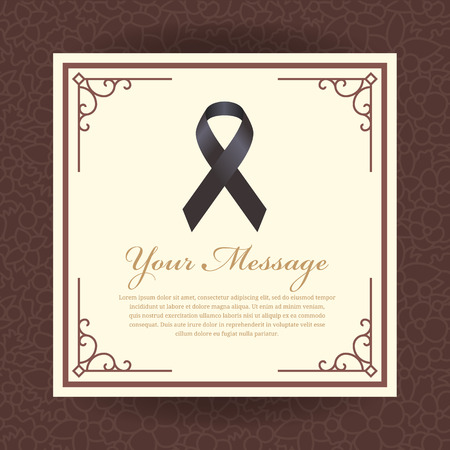 Funeral card - Black ribbon sign and place for text in vintage frame on brown abstract line border flower