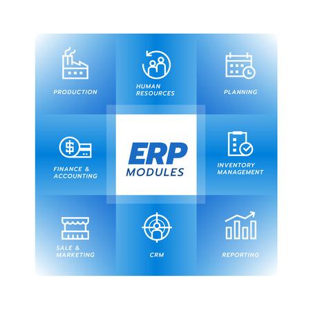Enterprise resource planning (ERP) module icon Construction on blue square flow chart Illustration