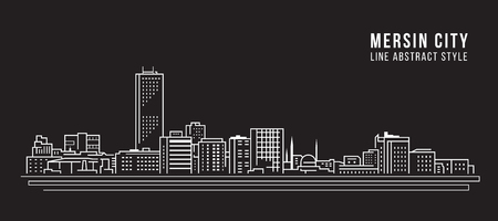 Cityscape Building Line art Illustration design - Mersin city