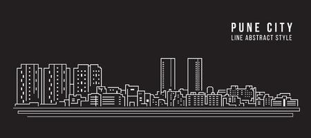 Cityscape Building Line art  Illustration design - Pune city