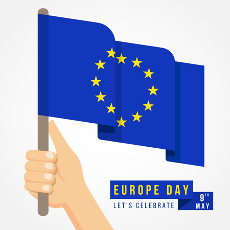 Europe day with hand hold european flag