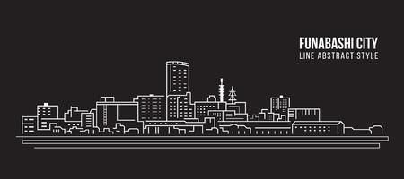 Cityscape Building Line art  Illustration design - Funabashi city