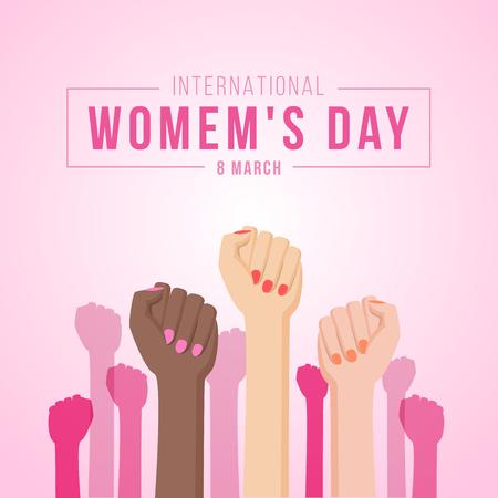 Internationale vrouwendag met vrouwen vuisthanden