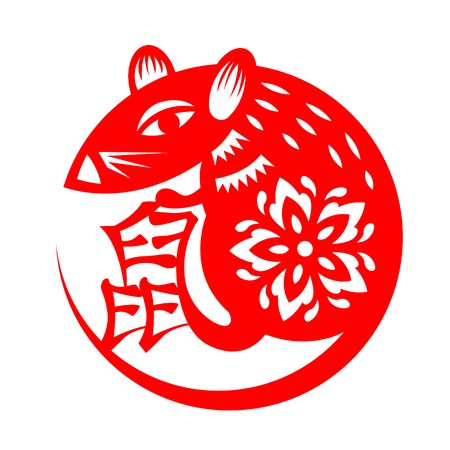 Red paper cut rat zodiac circle style vector design