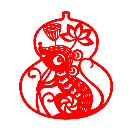 Red paper cut rat zodiac hold lotus flower in calabash isolate on white
