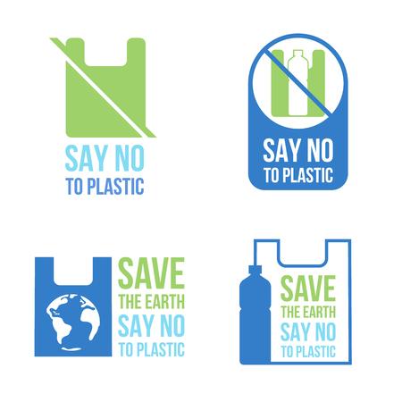 Salvar la tierra Di no al concepto de banner de plástico con bolsa de plástico y letrero de botella de plástico