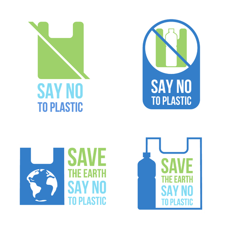 Save the earth Say no to plastic banner concept with plastic bag and plastic bottle sign