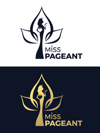 Miss pageant logo sign with woman wear a crown in lotus flower Illustration