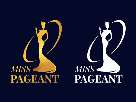 Miss pageant logo sign with Beauty queen wear a crown and motion hand Gold and white style Illustration
