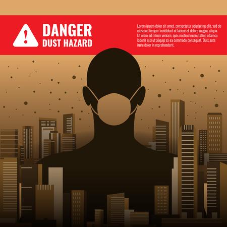 Gevaarsstofgevaarconcept met mensen die stofmaskers dragen in City Building en stof Vector Illustratie