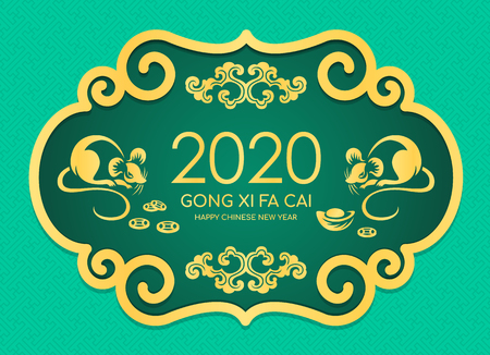 Happy chinese new year 2020 card with gold twin rat chinese zodiac and china coin ingot sign in chinese frame style on green texture