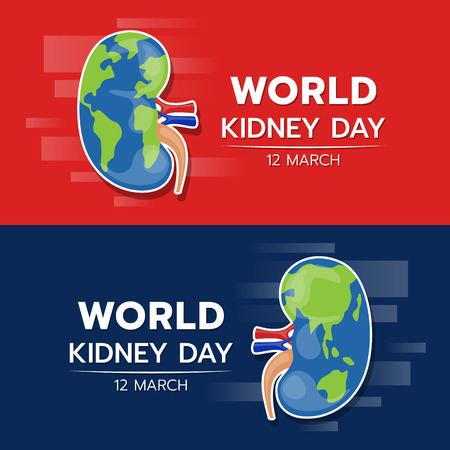 World kidney day banner with kidney earth texture sign on red and dark blue