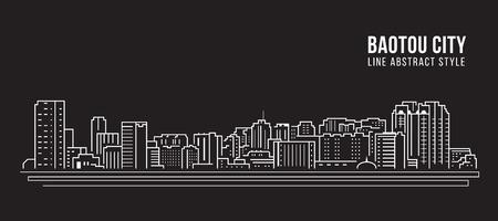 Cityscape Building Line art Vector Illustration design -  Baotou city