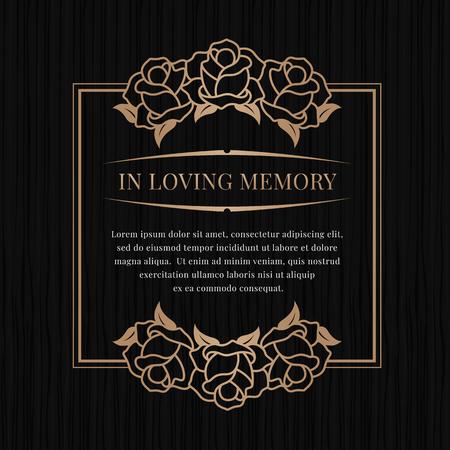 Dans la bannière de la mémoire affectueuse avec cadre rose en bronze brun sur la conception de vecteur de fond de texture noire