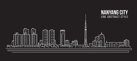 Cityscape Building Line art Vector Illustration design -  Nanyang city