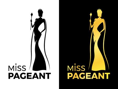 Miss-Festzug-Logo-Schild mit Frauenkönigin tragen Krone und Schönheitsumhang halten Zauberstab-Vektordesign
