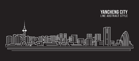 Cityscape Building Line art Vector Illustration design -  Yancheng city Stockfoto - 117745688