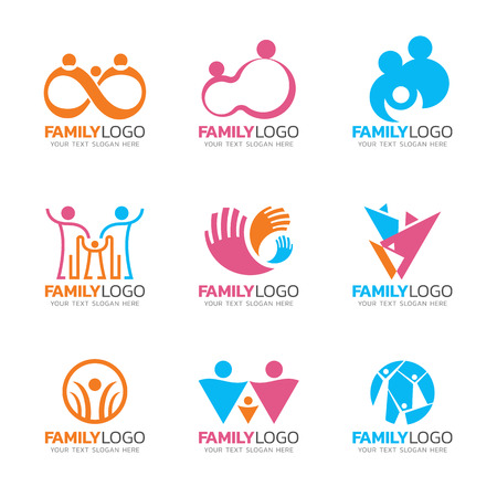 Orang pink and blue tone Family logo sign , human group sign vector set design