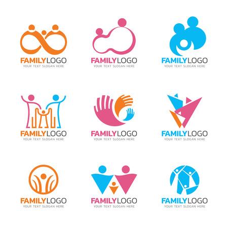 Signe de logo de famille de ton rose et bleu orang, scénographie de vecteur de signe de groupe humain