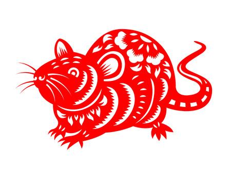 Rotes Papier geschnittenes chinesisches Rattentierkreisisolat auf weißem Hintergrundvektordesign