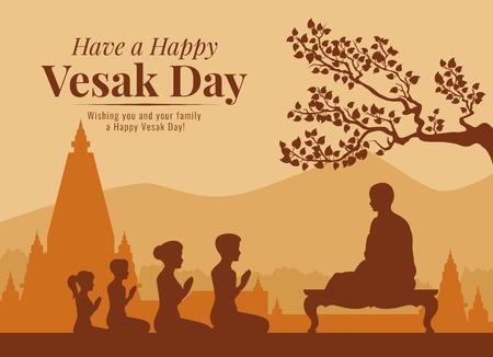 La pancarta del día de Vesak con budistas está escuchando el Dharma del diseño vectorial de los monjes Ilustración de vector