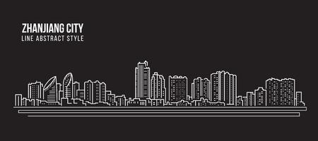 Cityscape Building Line art Vector Illustration design - Zhanjiang city