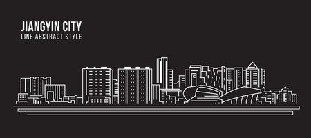 Cityscape Building Line art Vector Illustration design -  Jiangyin city