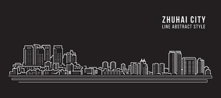 Cityscape Building Line art Vector Illustration design - zhuhai city