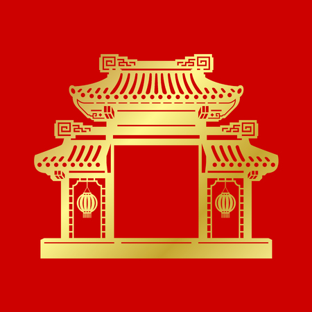Puerta de china de arte de corte de papel dorado sobre fondo rojo diseño vectorial