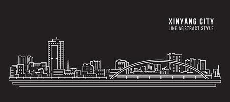 Cityscape Building Line art Vector Illustratie ontwerp - Xinyang city Vector Illustratie