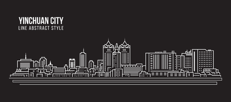 Cityscape Building Line art Vector Illustration design -  Yinchuan city Stock Illustratie
