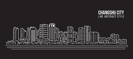 Cityscape Building Line art Vector Illustration design - Changshu city