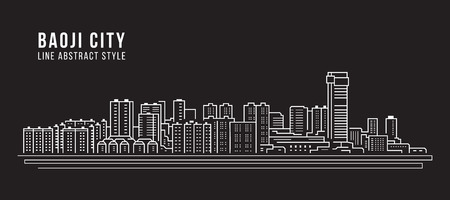 Cityscape Building Line art Vector Illustration design -  Baoji city Stockfoto - 117745796