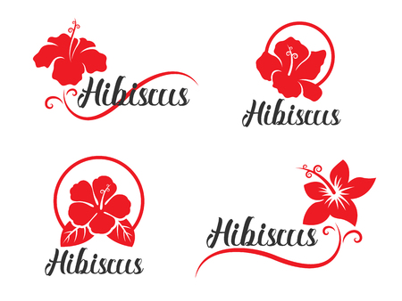 Red Hibiscus flower sign collection vector design Stock Illustratie