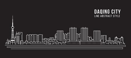 Cityscape Building Line art Vector Illustration design -  Daqing city