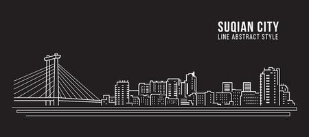 Cityscape Building Line art Vector Illustration design -  Suqian city Stock Illustratie