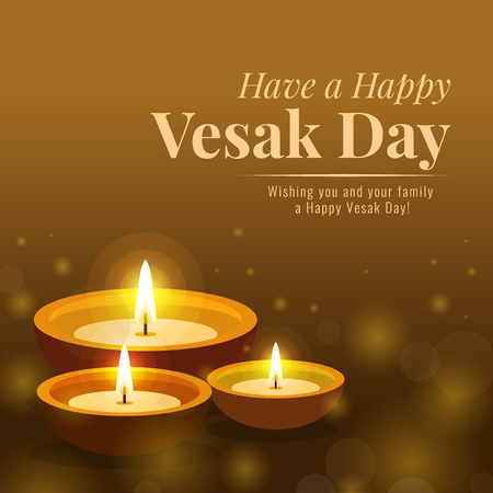 Happy vesak day banner with lamp light for worshiping the Buddha vector design