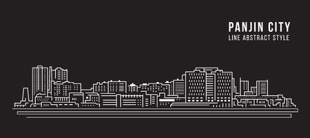 Cityscape Building Line art Vector Illustration design - Panjin city